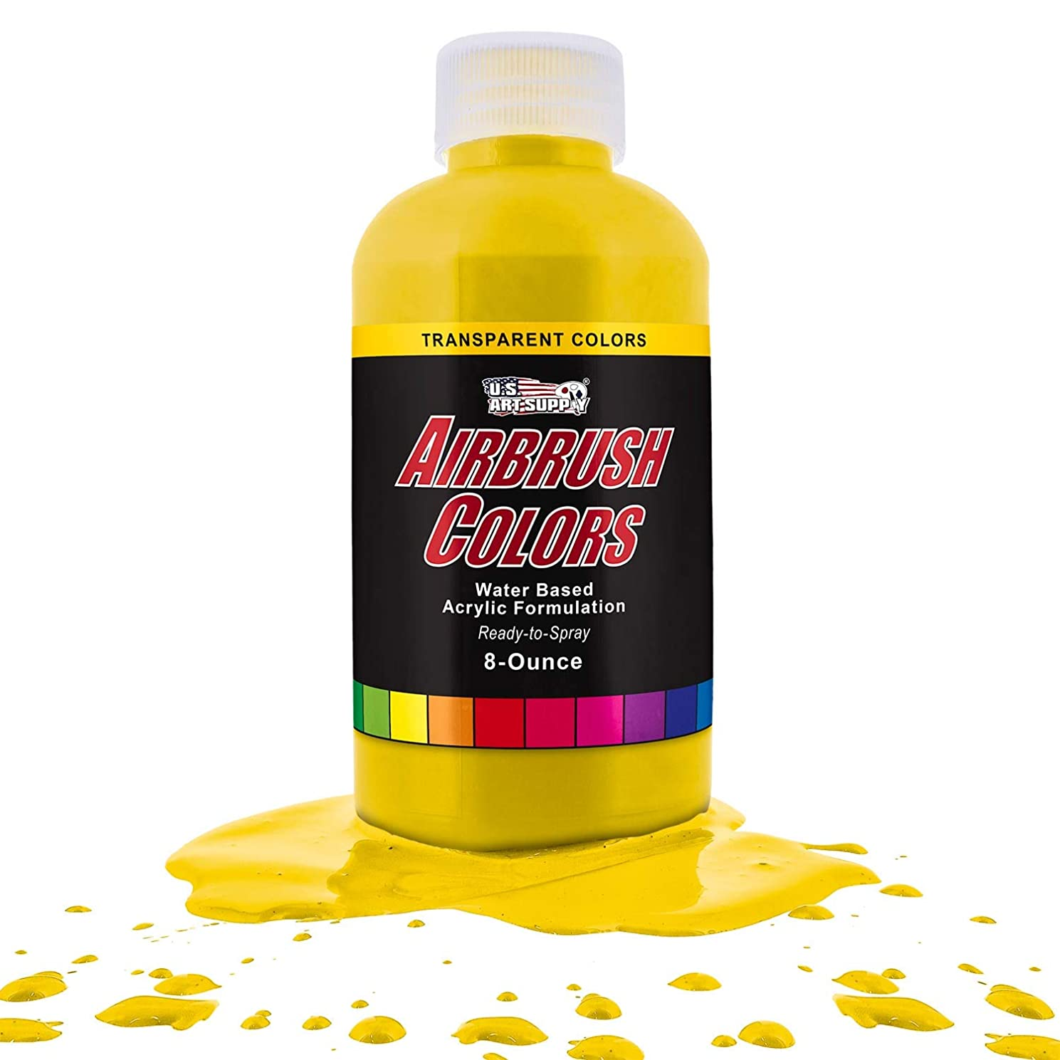 US Art Supply Bright Yellow Transparent Acrylic Airbrush Paint 8 oz.