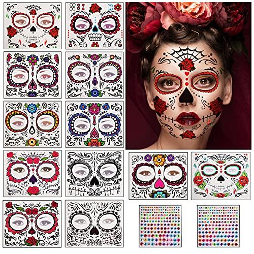 Herefun Halloween Tatuajes Temporales de Cara, Pegatinas de Maquillaje Facial, 12...