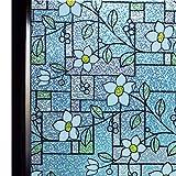 窓用フィルム 目隠しシート ガラスフィルム 窓めかくしシート遮光 遮熱 断熱シート 紫外線 UVカット ステンドグラス シール 水で貼る 貼り直し可能 おしゃれな花柄 インテリアシール (DP003A, 0.6M X 2M)