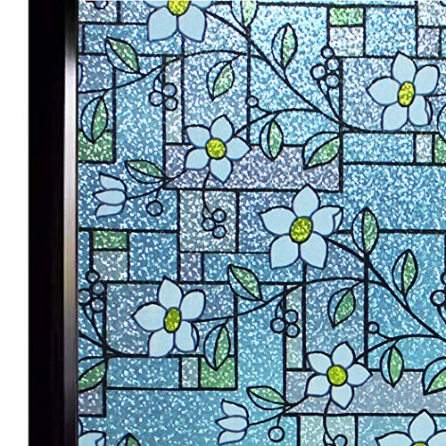 DUOFIRE Stained Glass Window Film Color Flower Pattern Privacy Window Film Decorative Glass Film No Glue Anti-UV Window Sticker Non Adhesive for Bedroom Living Room 35.4in. x 118in. DP003-1