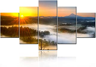 5 Piece Giclee Canvas Prints Wall Art Large Modern Gallery Wrapped Mountains in Sunrise Artwork Forrest Landscape Pictures Paintings Ready to Hang for Bedroom Dining Room Home Decorations -60