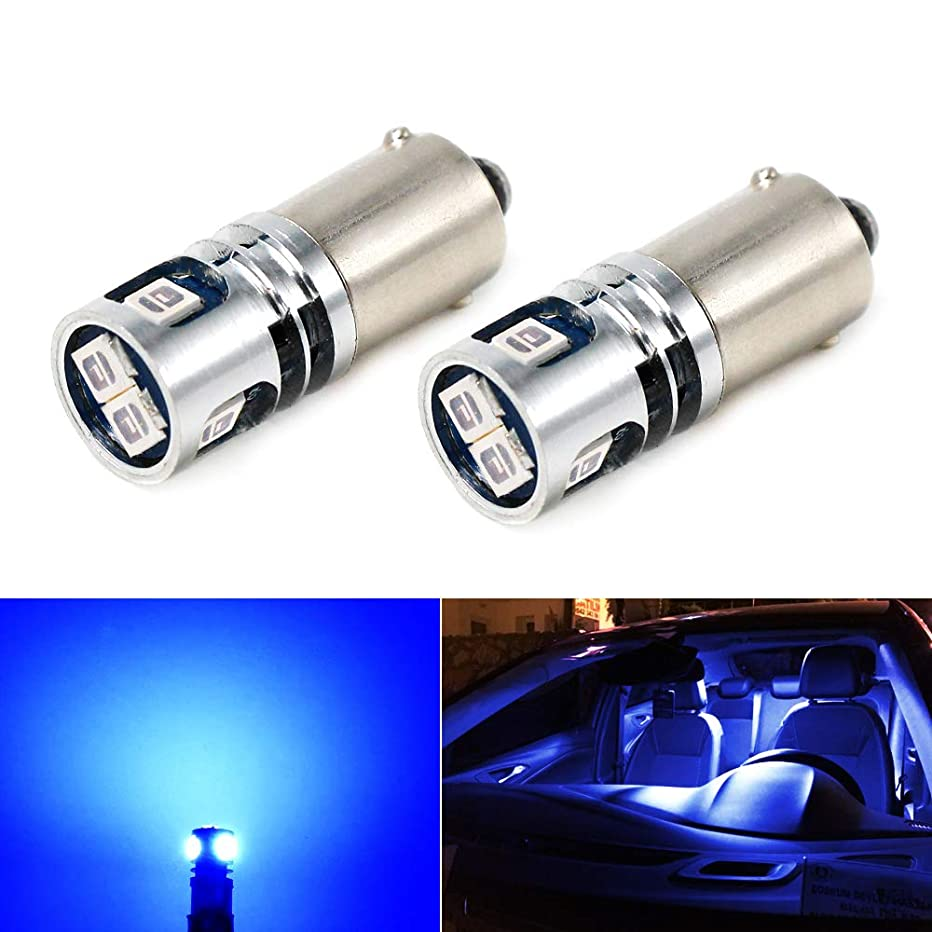 Phinlion Super Bright 2835 5-SMD BA9 BA9S 53 57 1895 64111 Blue LED Car Light Bulb for License Plate Side Door Courtesy Interior Dome Map Lights
