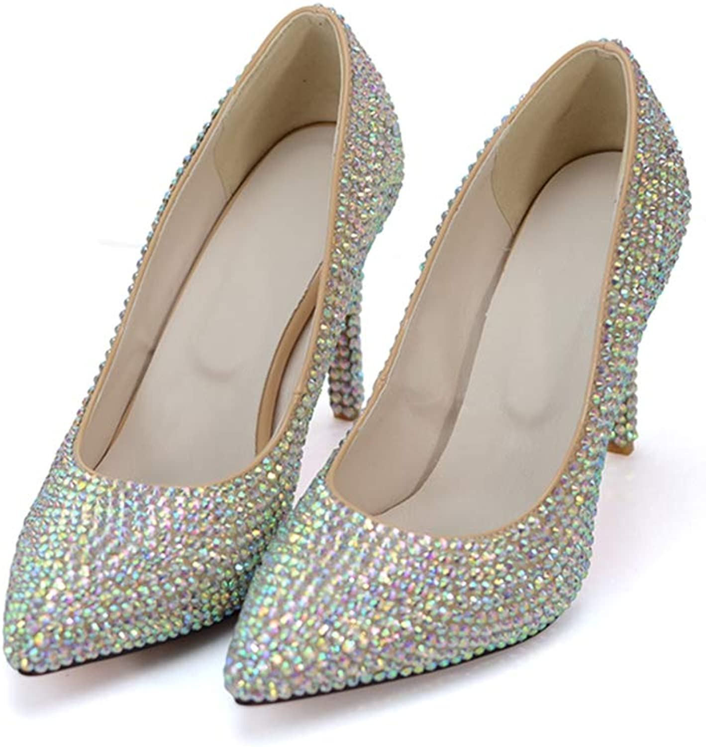 Wedding Bride shoes Silver AB color Bridal Dress shoes Pointed Toe Matric Graduate Farewell Ceremony Pumps