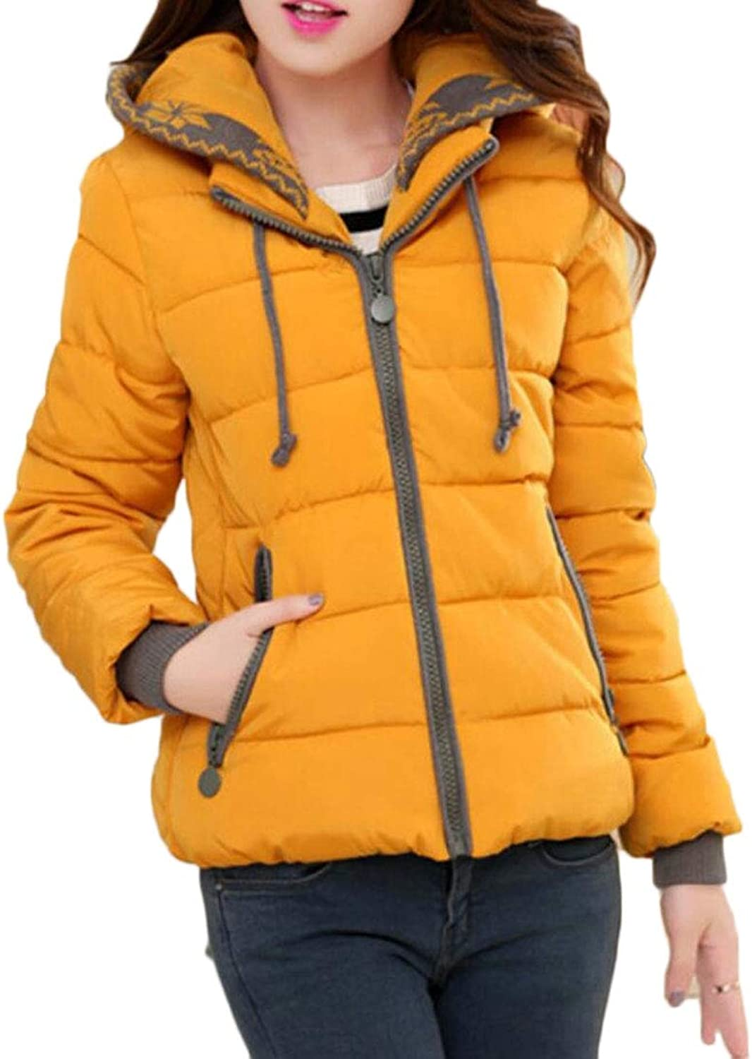 QDCACA Womens Casual with Hood Zip Quilted Thick Slim Fit Down Jacket Coat