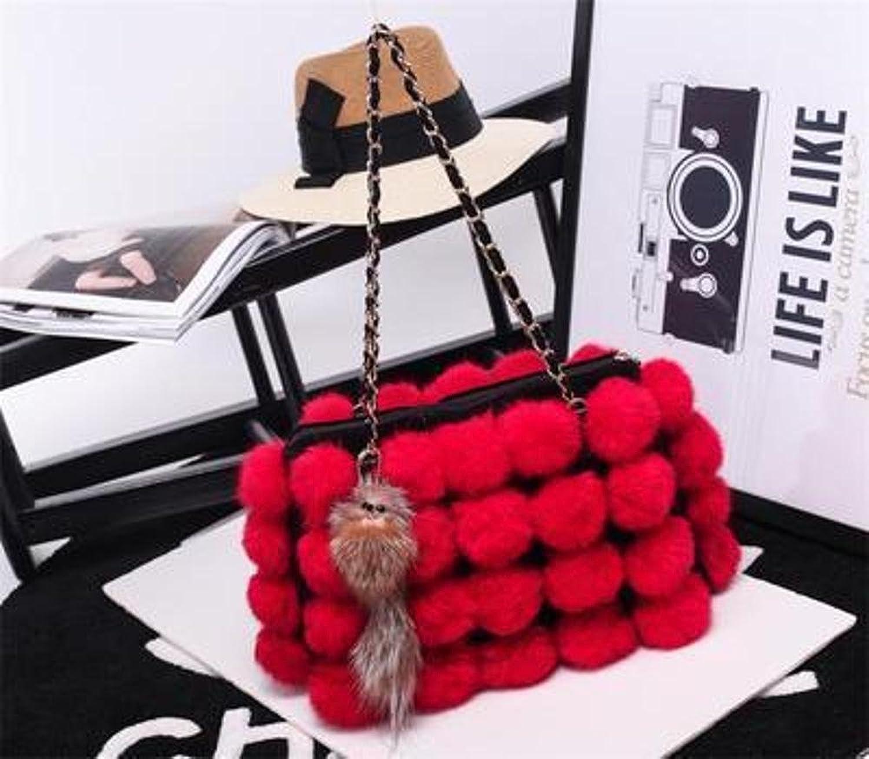 Penao Fell, Haar-Handtasche, Mode hundert Runde Umhängetasche Kette Damentasche, Damentasche, Damentasche, Größe 32cmx8cmx22cm B07D23P98K  Ausgezeichnete Dehnung 79abf8