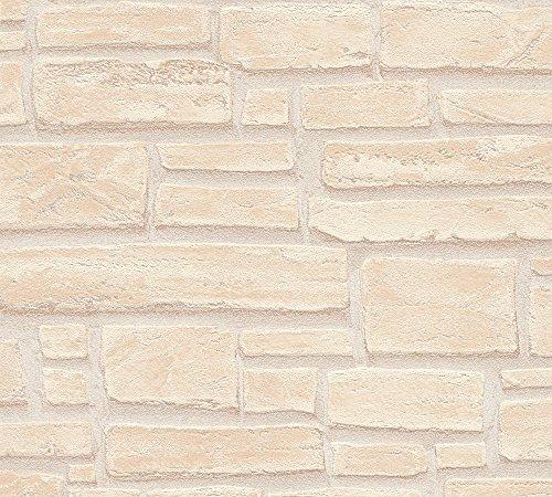 A.S. Création Vliestapete Best of Wood`n Stone 2nd Edition Tapete in Stein Optik fotorealistische Steintapete Naturstein 10,05 m x 0,53 m beige braun creme Made in Germany 662323 6623-23