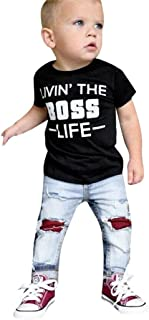 Toddler Baby Boys Clothes 2 Pcs Sets 18 Months-5T,Fashion Letter Print Black Tops T-Shirt and Shredded Jeans Outfit Set