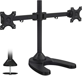 Mount-It! MI-781 Freestanding Dual Monitor Desk Mount - Heavy Duty Computer Monitor Stand for 19, 20, 21, 23, 24 Inch Monitors, VESA 75, 100 Compatible, 44 Lb Total Capacity