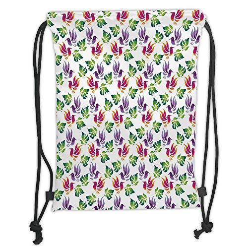 Drawstring Backpacks Bags,Japanese,Origami Art Style Inspired Fractal Bird Figures with Exotic Leaf Details Design Decorative, Soft Satin,5 Liter Capacity,Adjustable STRI