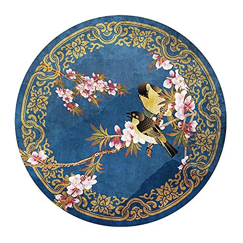 Tapis HAIZHEN Ronds De Style Chinois, Paysage De Fleurs Classique Etude De Thé De Thé, De Sol Décoratif, 6mm(Size:80X80CM)