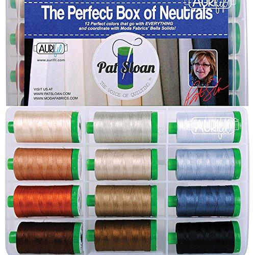 Pat Sloan The Perfect Box of Neutrals Aurifil Thread Kit 12 Large Spulen, 40 Weight PSNB4012