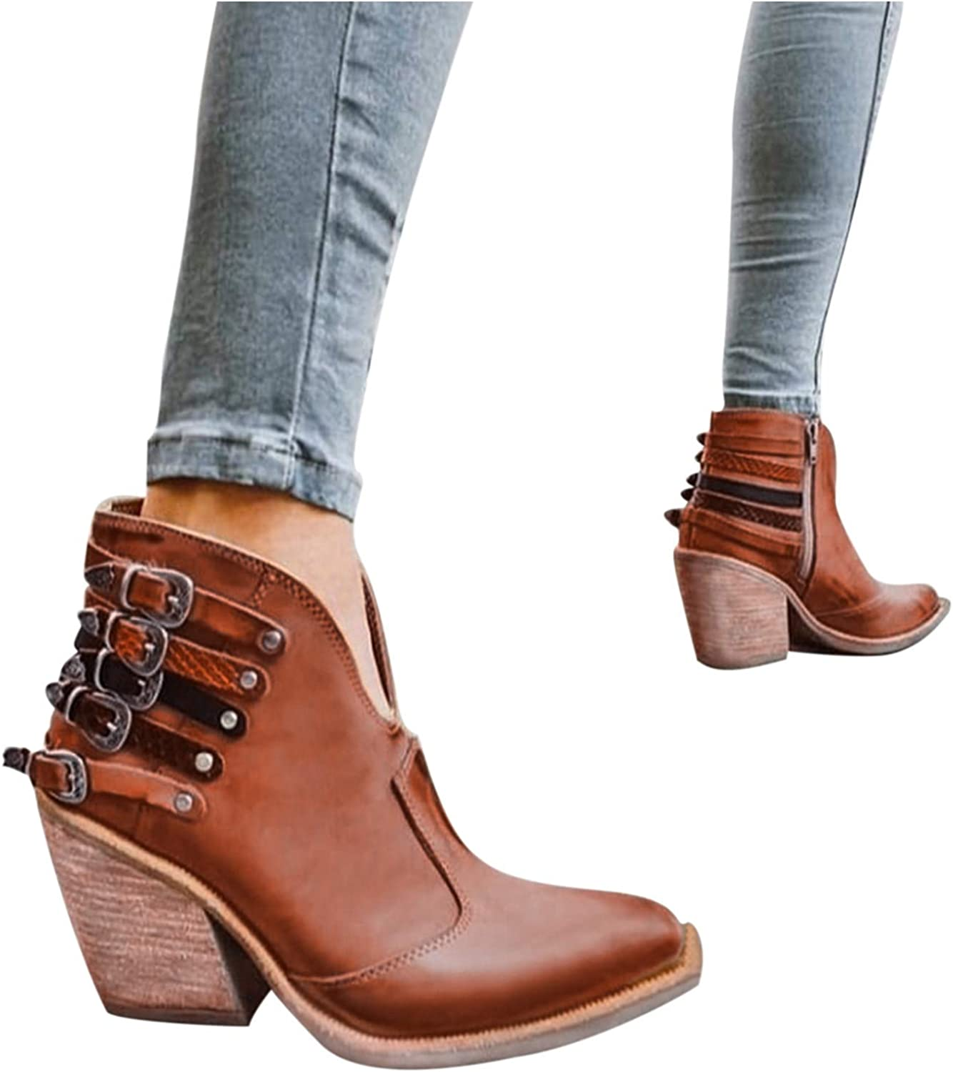 Ankle Boots for Women,Womens Booties Retro Low Heel Comfort Ankle Boots Buckle Zipper Roman Ruched Walking Shoes
