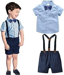 DEMU 2pcs Bekleidungssets Junge Babyanzug Gentleman Hemdbody Fliege Kurze Hose mit Tr/äger