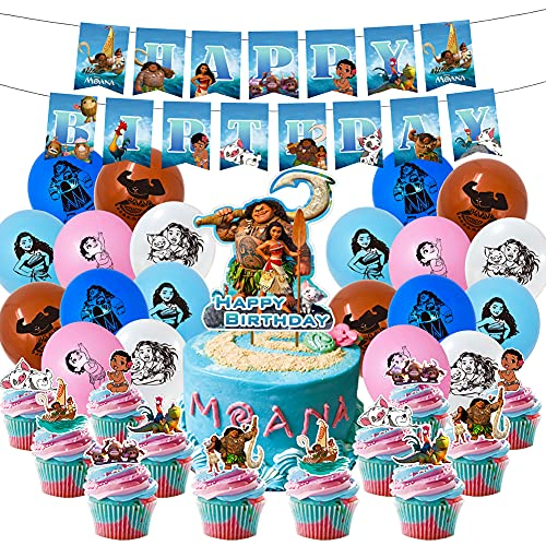 Moana Decoración Globos de Fiesta LLMZ 48Pcs 12inch Globos de latex Cake Topper Suministros de Fiesta Decoración Moana Cake Topper Ballons Moana Party Supplies
