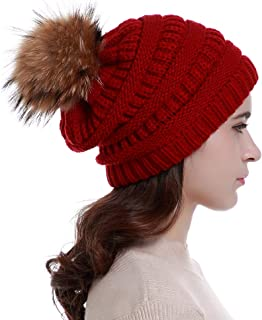 Lvaiz Womens Winter Knit Slouchy Beanie Hats Oversized Chunky Faux Fur Pom Pom Hat Bobble Hat Ski Cap for Girls
