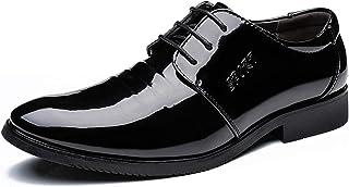 DADIJIER Oxfords Vestido Zapatos para Hombres Toe Redondo Patente Planeo Patrimonio de 3 Ojos Encado Muchoso Bloque Tacón ...