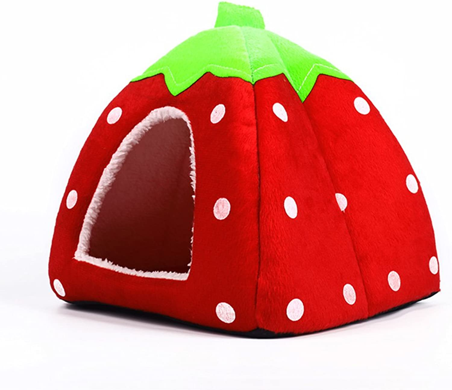 Echo Paths Strawberry Soft Tent Bed Cute Sponge Puppy Cat Cave Dog House for Pets Red XL (18.918.90.8 inch)