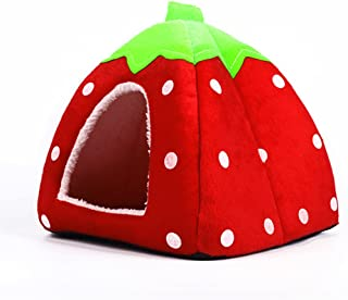 Echo Paths Strawberry Dog Tent Foldable Pet House Self-Warming Cat Bunny Guinea Pig Small Animal Bed