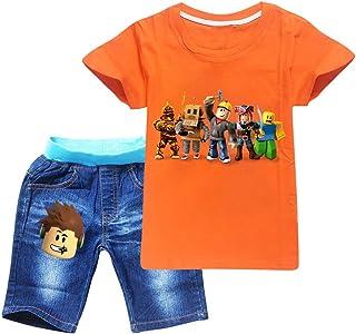 JIAQUN Roblox T-Shirt Unisexe pour Enfants Jeu Roblox Costumes T-Shirt + Short en Jean Ensemble de T-Shirt pour Enfants