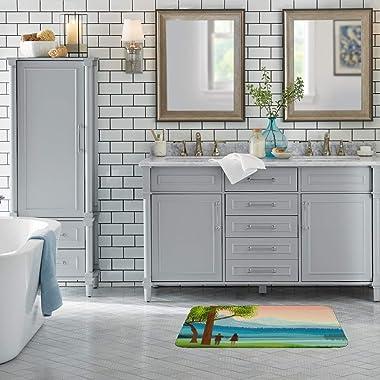 CHEHONG Alfombra de baño antideslizante, absorbente de agua, diseño de paisaje idílico, de terciopelo coral, lavable a máquin