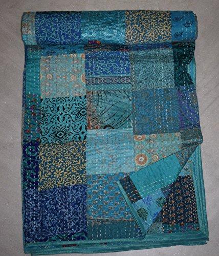 Tribal Asian Textiles Indische Seide Patola Kantha Quilt Vintage Baumwolle Tagesdecke Überwurf Patchwork Gudri
