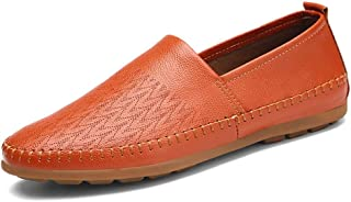 HaiNing Zheng Penny Loafers for Men Slip-on Casual Driving Flat Carving Shoes Genuine Leather Summer Breathable Stitching Round Toe Anti-Slip (Color : Brown, Size : 6.5 UK)