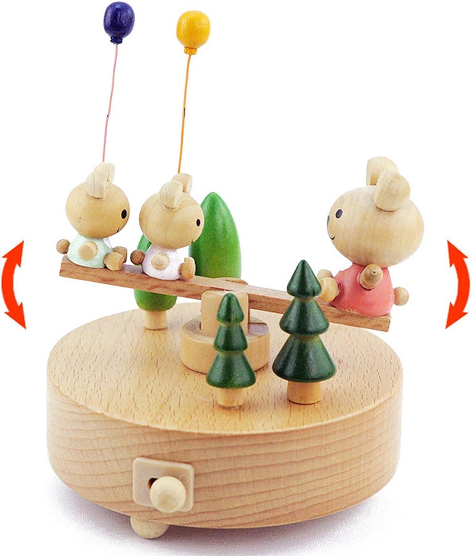 ZHAS Cubs Music scatola in Legno, Music scatola Clocklavoro Christmas Tree, Decorazione casa Creativa, Regalo