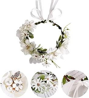 QAQ Pearl Diamond Garland Headband, Bohemian Style Headband Corolla, Suitable for Wedding Festival Party Hair Accessories,White
