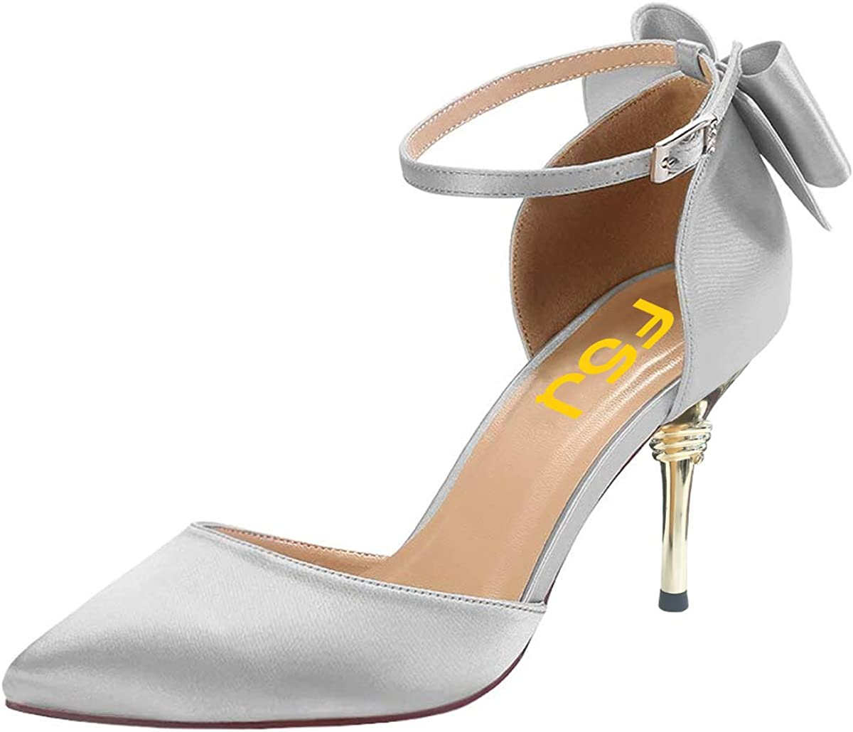 FSJ Women D'orsay Pointy Toe Ankle Mid Bowkn Direct stock discount Pumps Heels Fresno Mall Strappy