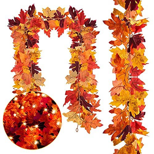 DERAYEE 2Pcs Fall Maple Leaf Garland with Lights, Artificial Fake Leaves 40LED String Lights Thanksgiving Home Decorations Fall Décor Fireplace Party