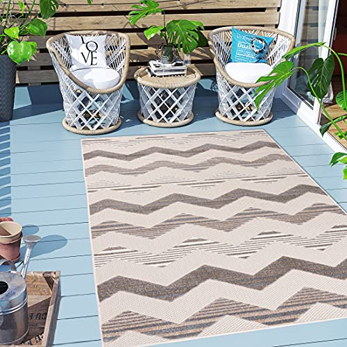 Carpeto Rugs In- & Outdoor Teppich Wetterfest für Balkon, Terasse - Geometrisch Balkon Teppich Wasserfest - Outdoorteppich Wetterfest - Aussenteppich Terrasse Groß - Beige - 80 x 200 cm