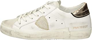 Philippe Model Sneaker Paris X in Pelle Bianca con Spoiler Dorato, Taglia UK: