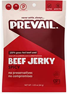 Spicy Beef Jerky | 3 Pack | Certified Gluten-Free, Keto-Certified, Paleo-Certified, 100% Grass-Fed & Grass-Finished, Low-Carb, Soy-Free, Allergy-Friendly | 12g Protein | Prevail Jerky