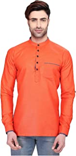 Indian Women Sarees Designer Stylish Mens Regular Daily wear Comfortable and Relaxing Orange Cotton Short Kurta for Men. I...