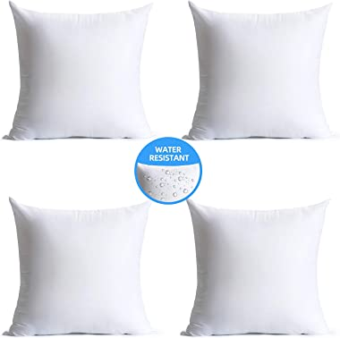 Calibrate Timing 18 x 18 Pillow Inserts Outdoor, Water Resistant Hypoallergenic Square Decorative Throw Pillow Cushion Stuffe