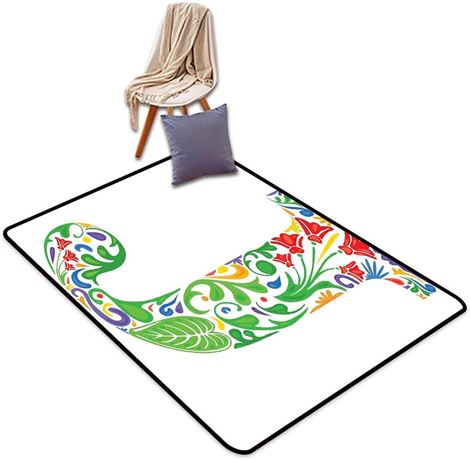 Indoor Super Absorbs Mud Doormat Letter J Initial Capital J with Tropical Nature Elements Leaves and Flowers Abstract Swirls W4'xL6' Suitable for Family