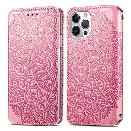 Trugox Funda Cartera para iPhone 12 Pro MAX de Piel con Tapa Tarjetero Soporte Plegable Antigolpes Flor Cover Case Carcasa Cuero para Apple iPhone 12 Pro MAX - TRSDA140075 Rosa