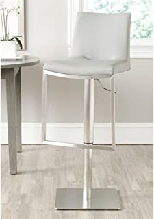 Safavieh Home Collection Ember Grey Leather Adjustable Gas Lift 22-31.9-inch Bar Stool