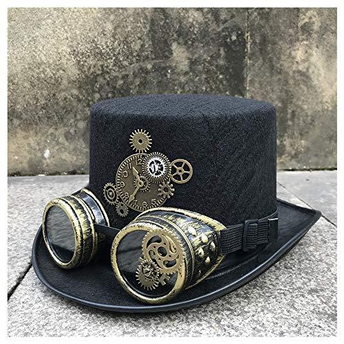 Xuguiping Steampunk-hoed voor mannen en vrouwen, met bril, snelheidssymbool, hoed, maat 57 cm 57 Zwart