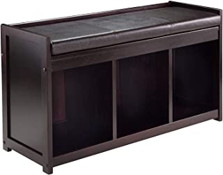 Winsоmе Wооd Deluxe Premium Collection Addison 2 Piece Storage Bench with Cushion Seat Decor Comfy Living Furniture