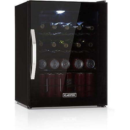 KLARSTEIN Beersafe Onyx - réfrigérateur à boissons, 5 niveaux, 42 dB, 3 clayettes métalliques mobiles, éclairage LED, pour bouteilles, porte vitrée cadre noir, 60 L - noir