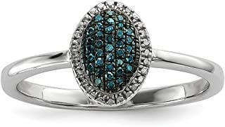 925 Sterling Silver Blue White Diamond Oval Band Ring Fine Jewelry For Women Gift Set