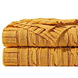 NTBAY 100% Cotton Cable Knit Throw Blanket Super Soft Warm Multi Color (51 x 67 inches, Ginger Yellow)