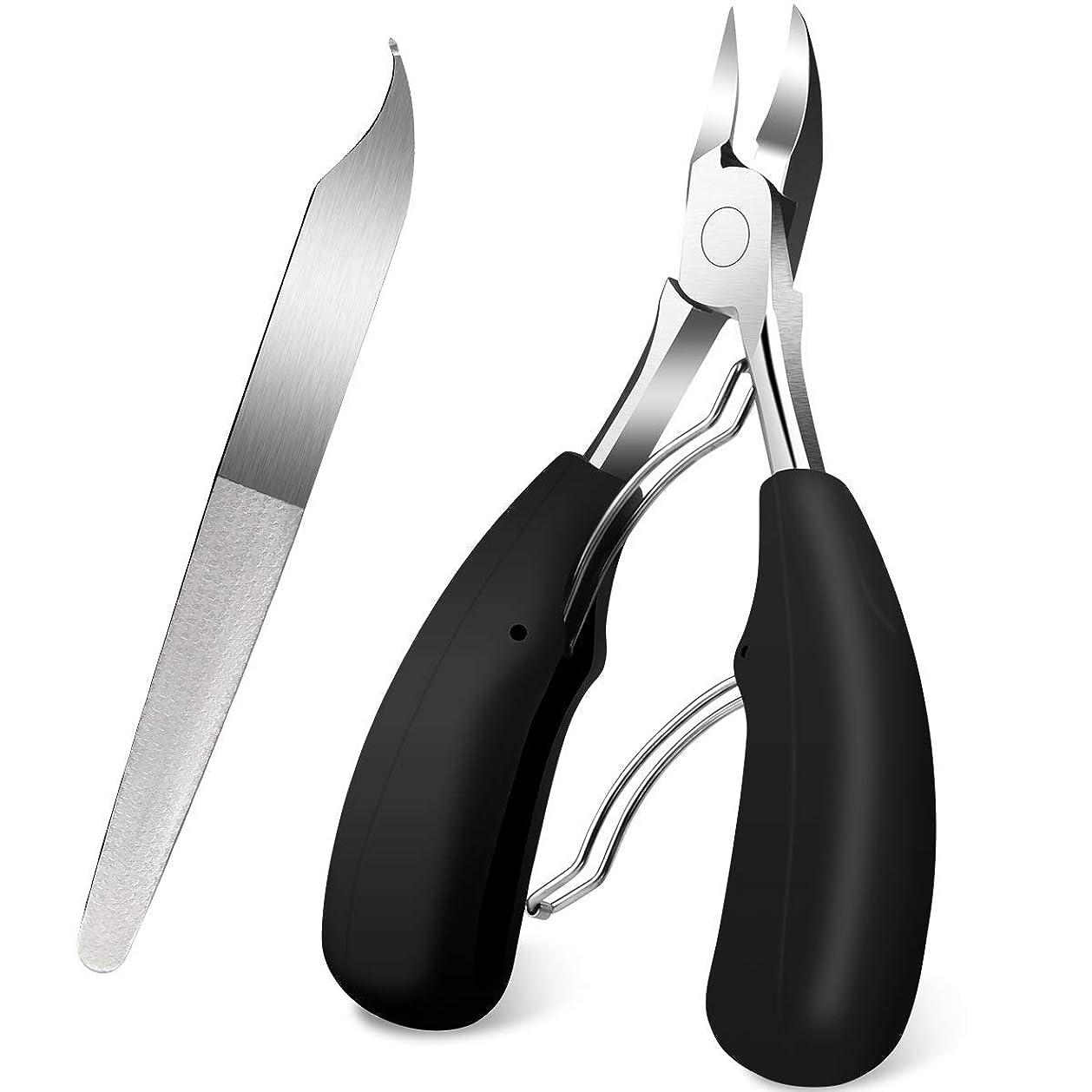 終わり傑作抗生物質爪切り ニッパー 巻き爪 変形爪 硬い爪 ネイルケア 3way仕様爪やすり 手足兼用 つめきり (2点セット) …