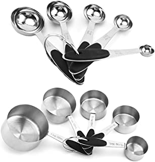 Measuring cups and Spoons set (black), Stainless Steel Measuring Utensils with Non-Slip Colorful Silicone Handles for Kitc...