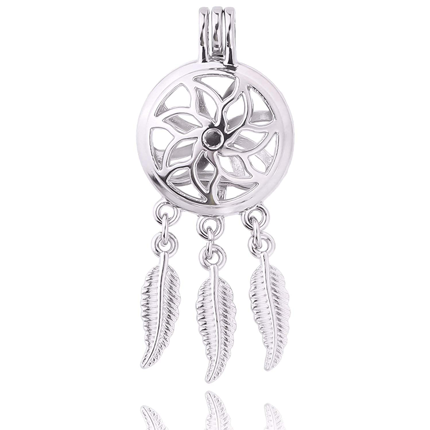 8pcs Dream Wish Catcher Pearl Cage Locket Pendant Jewelry Making - for Oyster Pearls, Essential Oil Diffuser, Fun Gifts (Style-11)