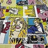 Kt KILOtela Tela por Metros de loneta Estampada - Ancho 280 cm - Largo a elección de 50 en 50 cm | Cómic Bud - Multicolor