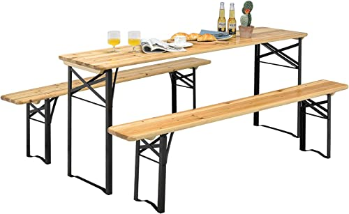 """lowest Giantex 70"""" 3-Piece Portable wholesale Folding Picnic Beer Table with Seating Set Wooden Top Picnic Table for wholesale Patio Outdoor Activities Garden Use, 30"""" Table Height online"""