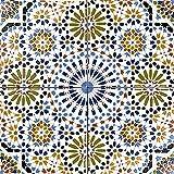 Cerames - Kenza, Azulejos de cerámica marroquí – 12 azulejos decorativos tunecinos orientales (0,48 m2) 20 x 20 cm para baño, cocina, bajo escaleras. Azulejos decorativos de colores.