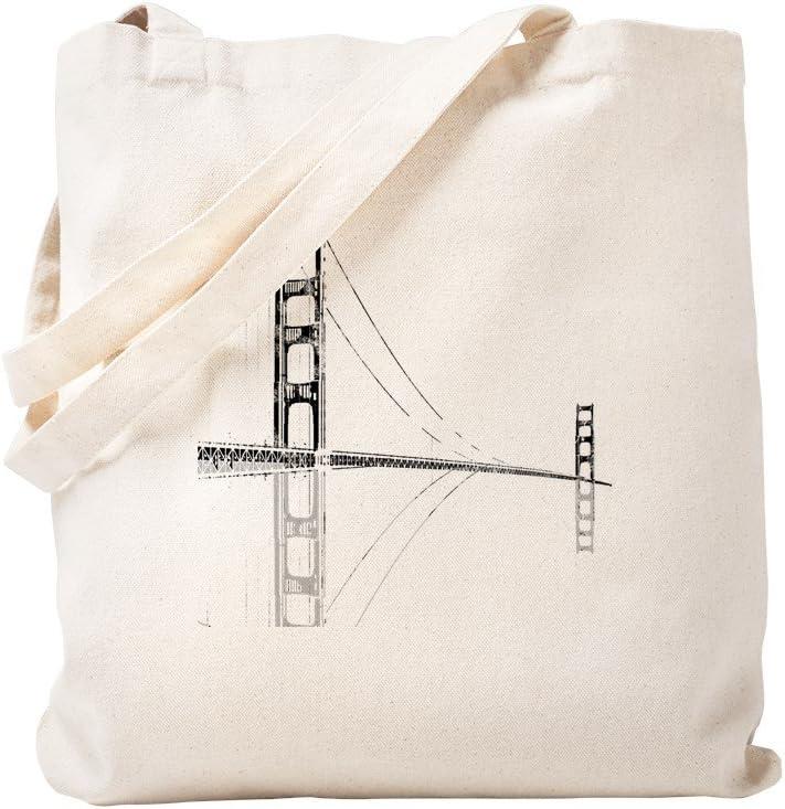 CafePress Golden Gate Faded Tote Bag Natural Canvas Tote Bag, Reusable Shopping Bag